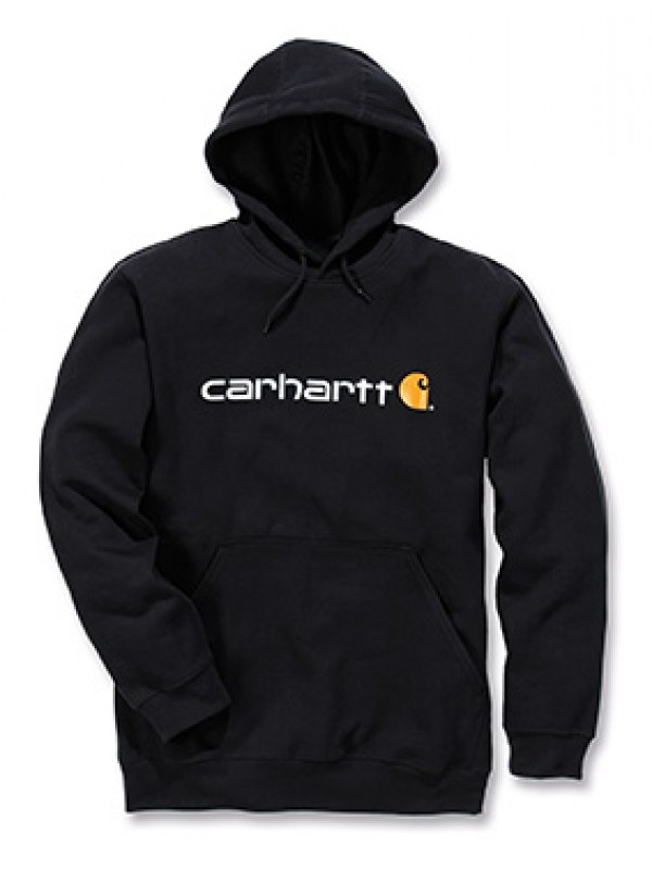 Carhartt Signature Logo Midweight Hooded Sweatshirt : Black