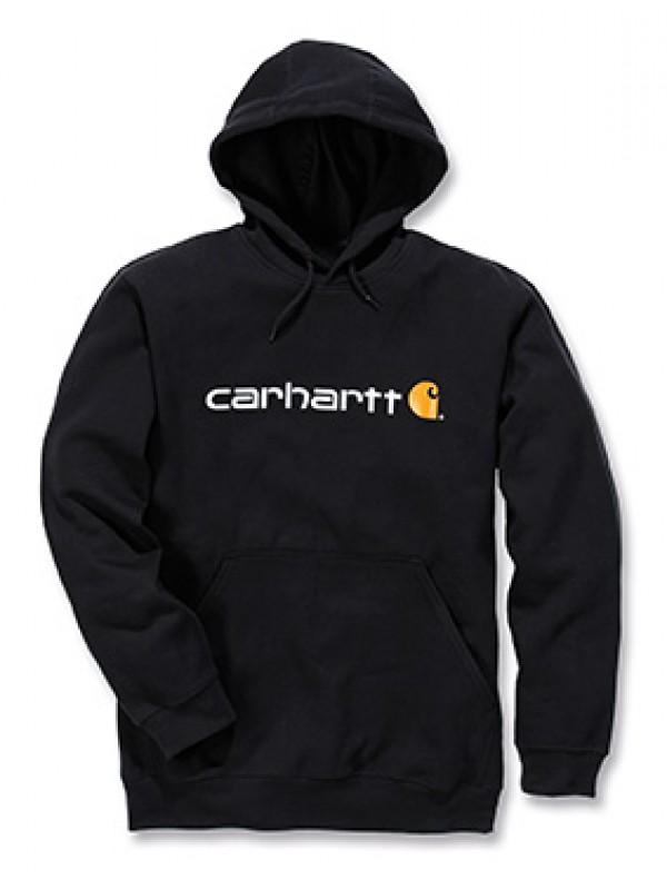 Carhartt Signature Logo Midweight Hooded Sweatshirt : Black