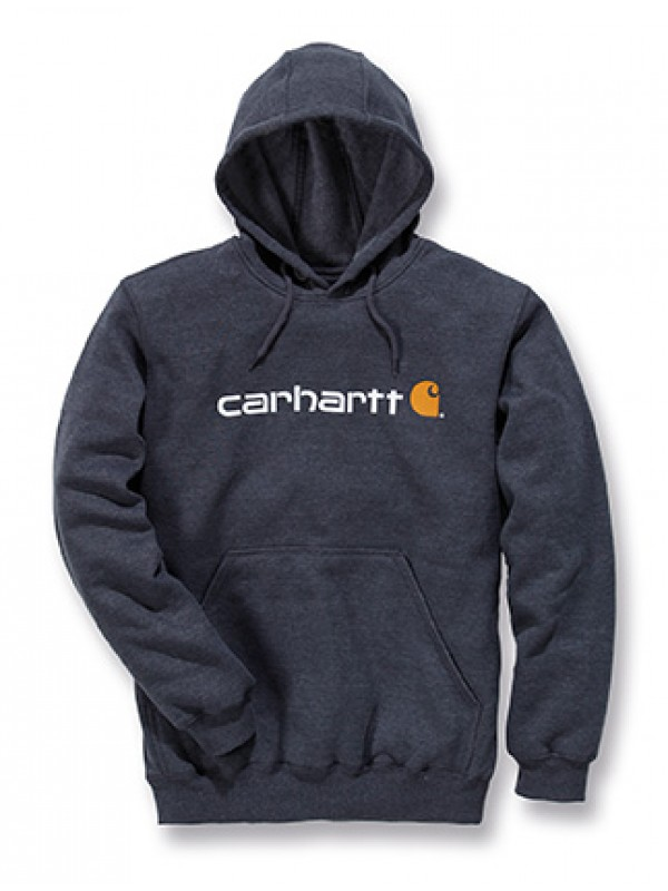 Carhartt Signature Logo Midweight Hooded Sweatshirt : Carbon Heather