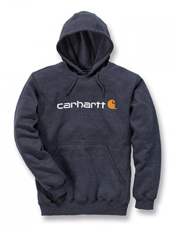 Carhartt Signature Logo Midweight Hooded Sweatshirt : Charcoal Heather