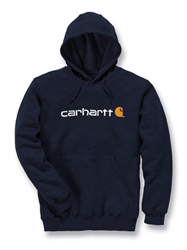 Carhartt Signature Logo Midweight Hooded Sweatshirt : New Navy