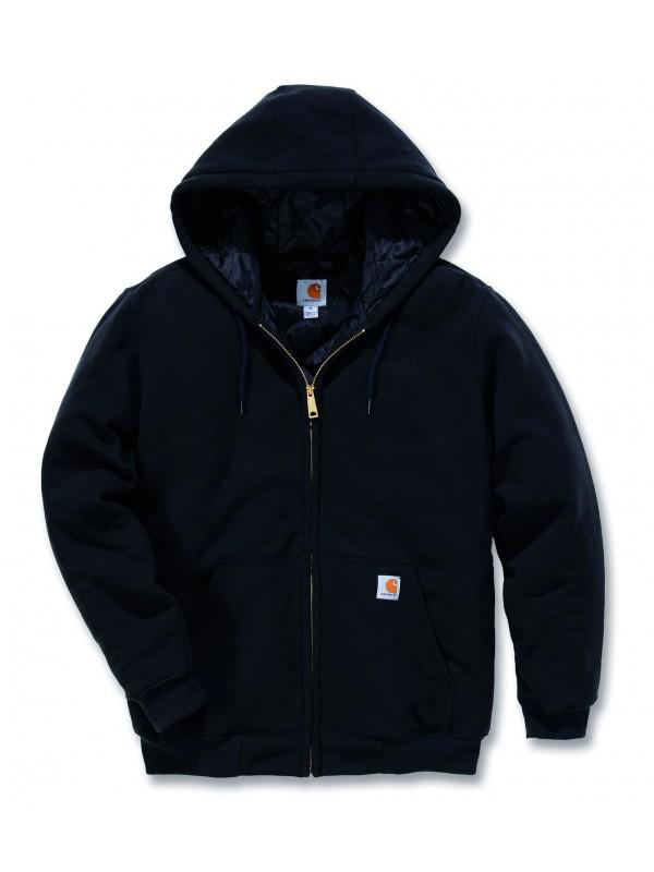 Carhartt Black Thermal Lined Zip Front Hooded Sweatshirt