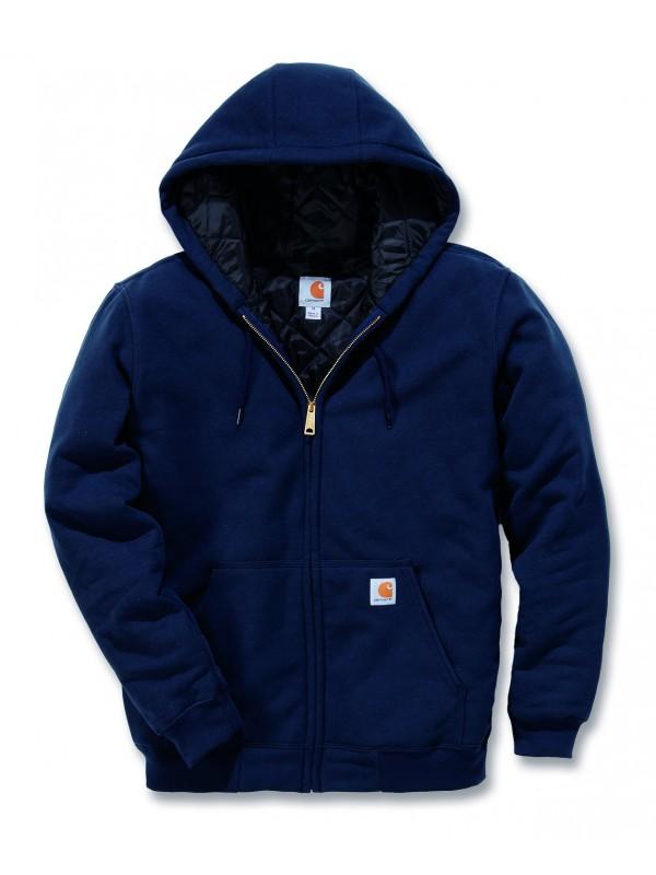 Carhartt New Navy Thermal Lined Zip Front Hooded Sweatshirt
