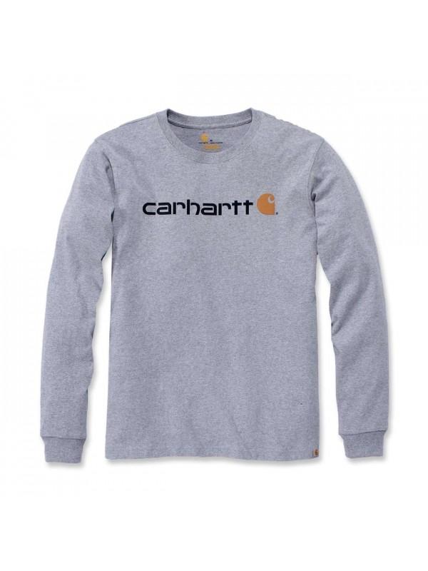Carhartt  Core Logo Long Sleeved  T-Shirt  : Heather Grey