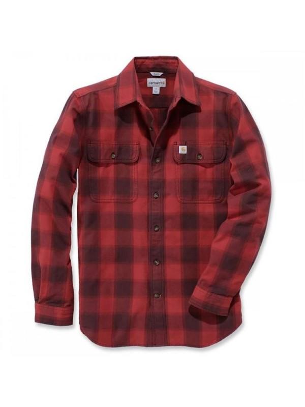 Carhartt Hubbard Flannel Shirt : Dark Crimson