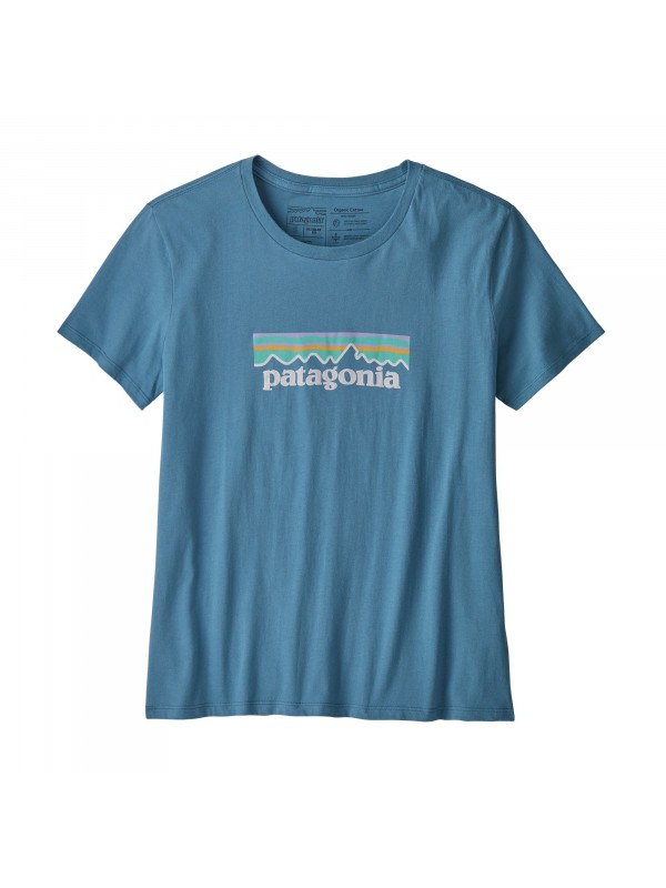Patagonia Women's Pastel P-6 Logo Organic Cotton Crew T-Shirt : Woolly Blue