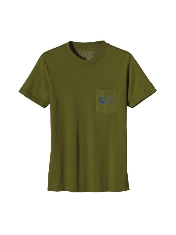 Patagonia Willow Herb Green Heritage Wave Pocket T-Shirt
