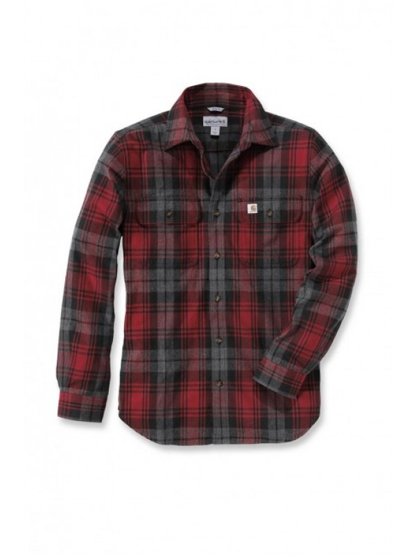 Carhartt Dark Crimson Hubbard Slim Fit Flannel Shirt