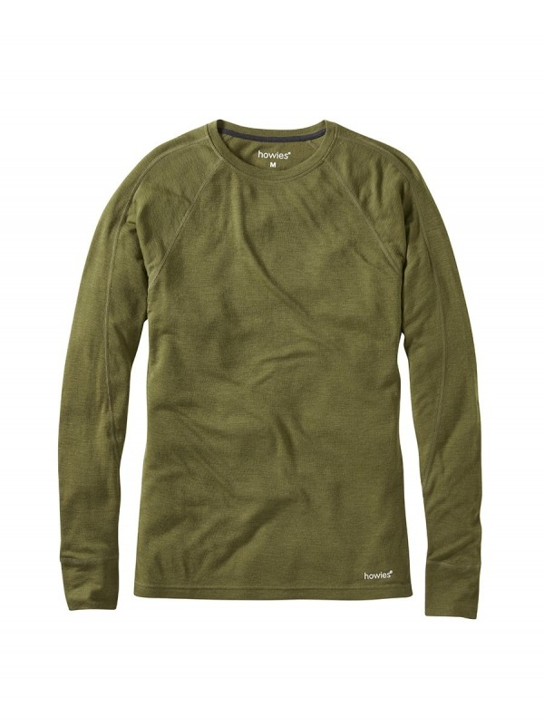 howies Lightweight Merino Base Layer : Military Olive