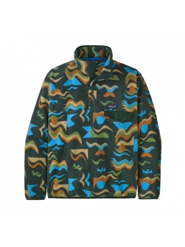 Patagonia European Fit Lightweight Synchilla® Snap-T Fleece Pullover : Arctic Collage: Northern Green