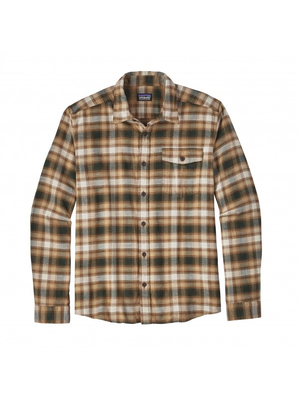 Patagonia Mens Bear Brown  L/W Fjord Flannel Shirt