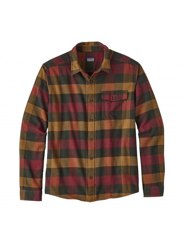 Patagonia Mens Drumfire Red  L/W Fjord Flannel Shirt