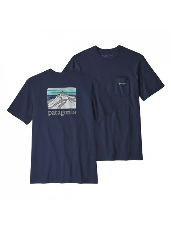 Patagonia Men's Line Logo Ridge Pocket Responsibili-Tee : Classic Navy
