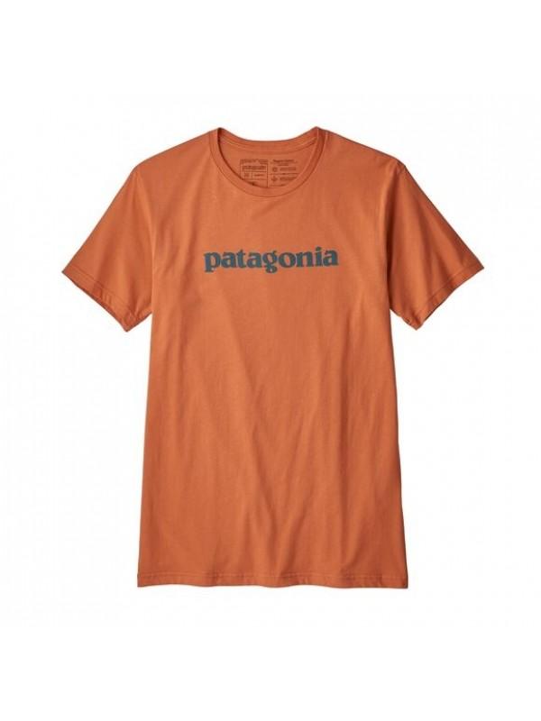 Patagonia Men's Text Logo Organic Cotton T-Shirt : Sunset Orange