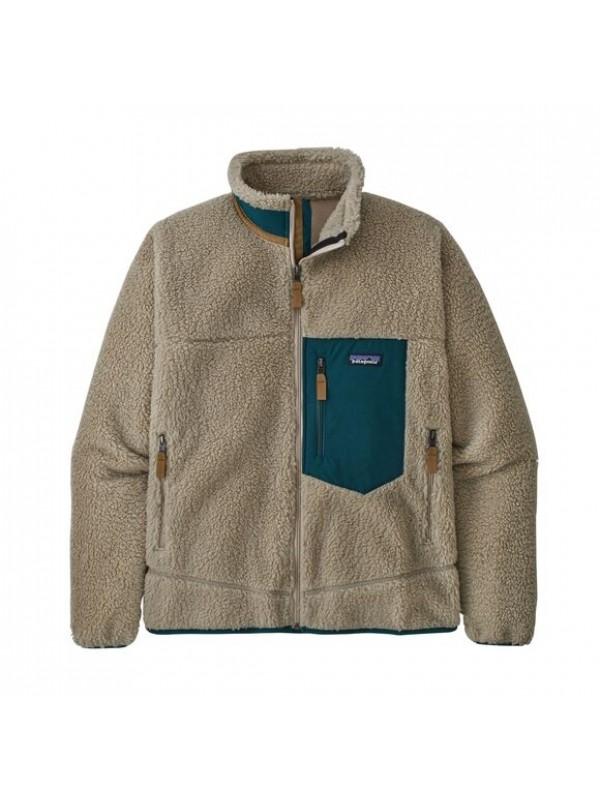Patagonia Mens Classic Retro-X Fleece Jacket | Pelican w/Dark Borealis Green