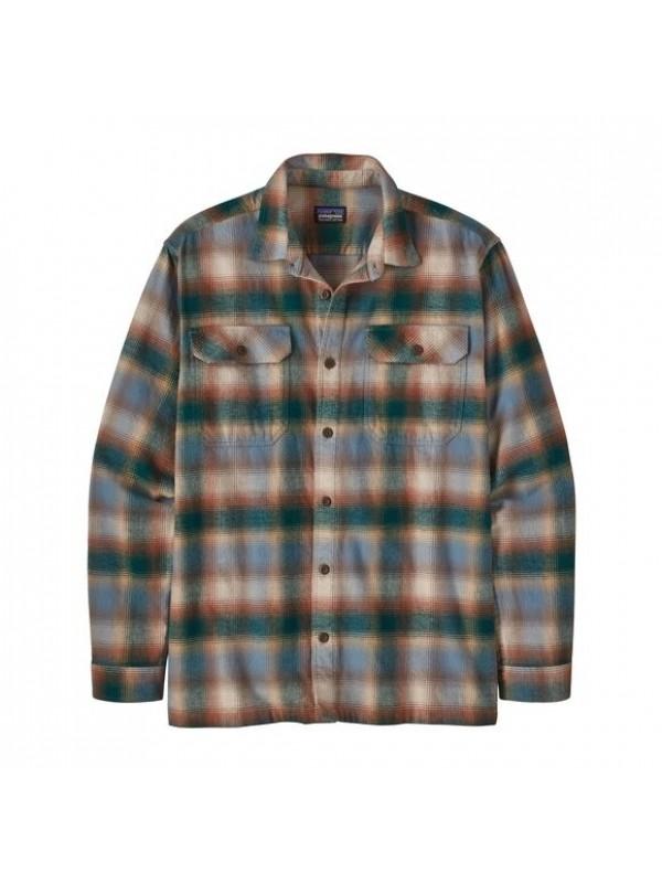 Patagonia Mens Long-Sleeved Organic Cotton Midweight Fjord Flannel Shirt : Northern Lights Plaid: Dark Borealis Green