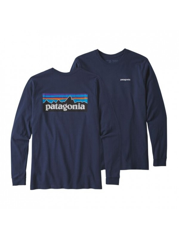 Patagonia Mens Long-Sleeved P-6 Logo Responsibili-Tee : Classic Navy