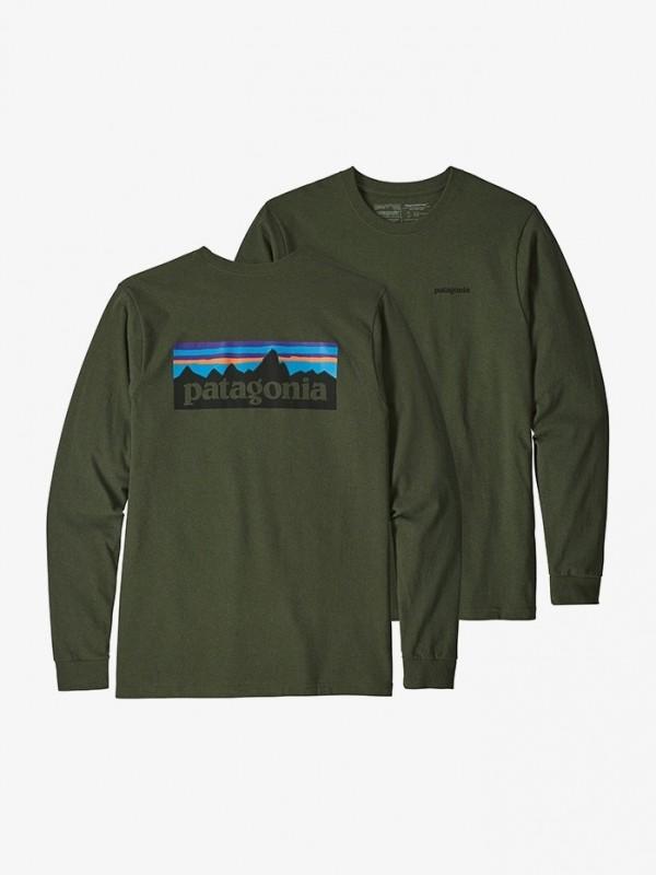 Patagonia Mens Nomad Green Long-Sleeved P-6 Logo Responsibili-Tee