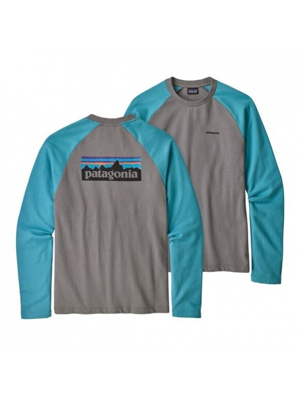 Patagonia P-6 Logo Lightweight Crew Sweatshirt : Feather Grey w/Mako Blue