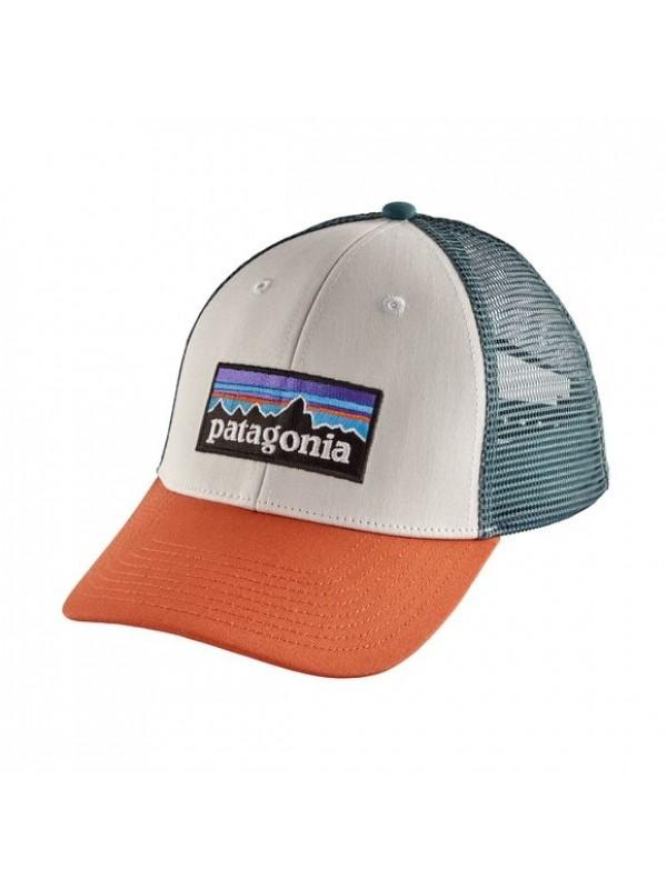 Patagonia P-6 LoPro Trucker Hat : White w/Sunset Orange