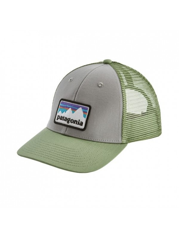 Patagonia Shop Sticker Patch LoPro Trucker Hat : Drifter Grey w/Matcha Green