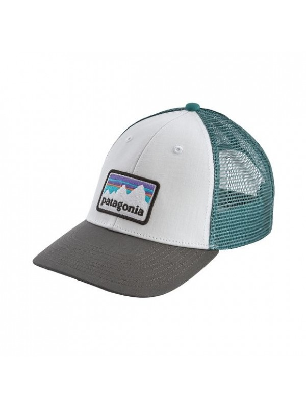 Patagonia Shop Sticker Patch LoPro Trucker Hat : White /Forge Grey