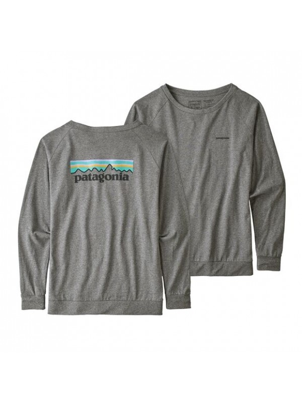 Patagonia Womens Long-Sleeved Pastel P-6 Logo Responsibili-Tee : Gravel Heather