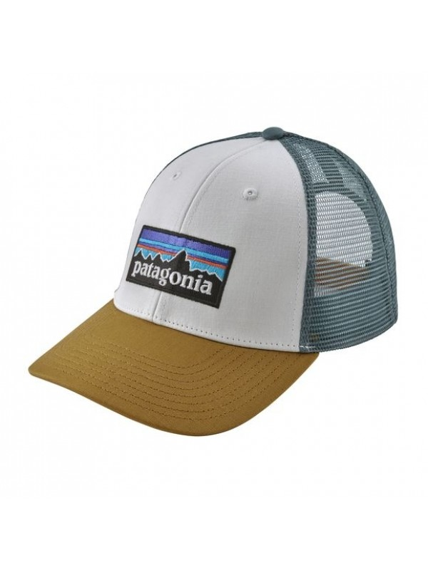 Patagonia P-6 LoPro Trucker Hat -White w/Kastanos Brown