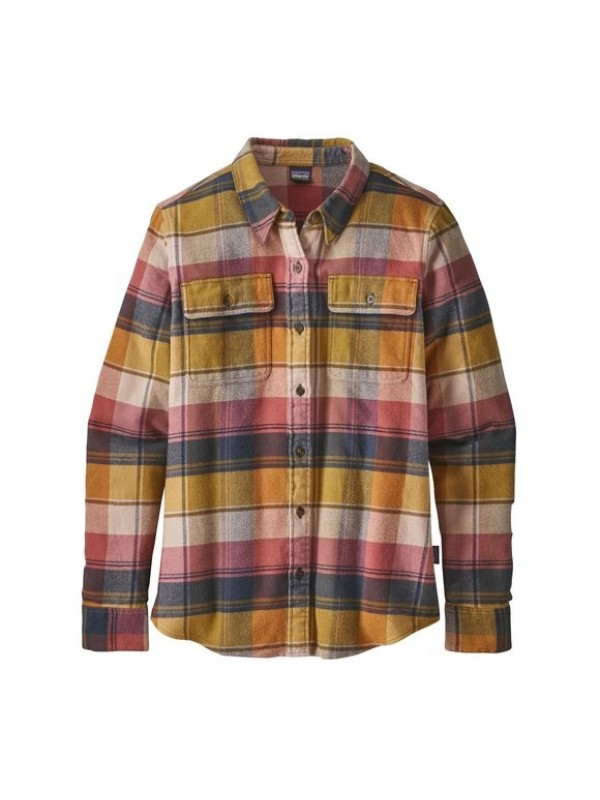 Patagonia Women's Long-Sleeved Fjord Flannel Shirt: Spectra: Kiln Pink