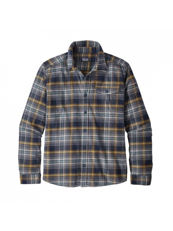 Patagonia Mens Navy Blue  L/W Fjord Flannel Shirt