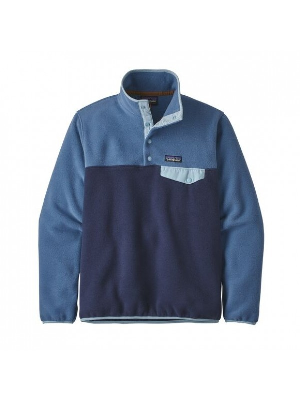 Patagonia Women's Lightweight Synchilla Snap-T Fleece Pullover: New Navy w/Woolly Blue