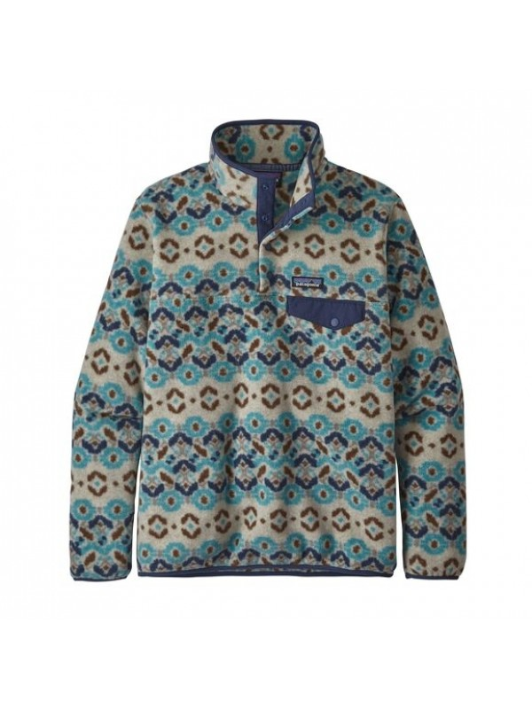 Patagonia Women's Lightweight Synchilla Snap-T Fleece Pullover: Tundra Cluster: Big Sky Blue