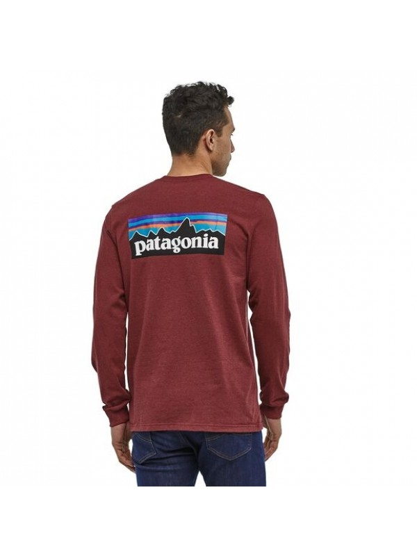 Patagonia Mens Long-Sleeved P-6 Logo Responsibili-Tee : Oxide Red