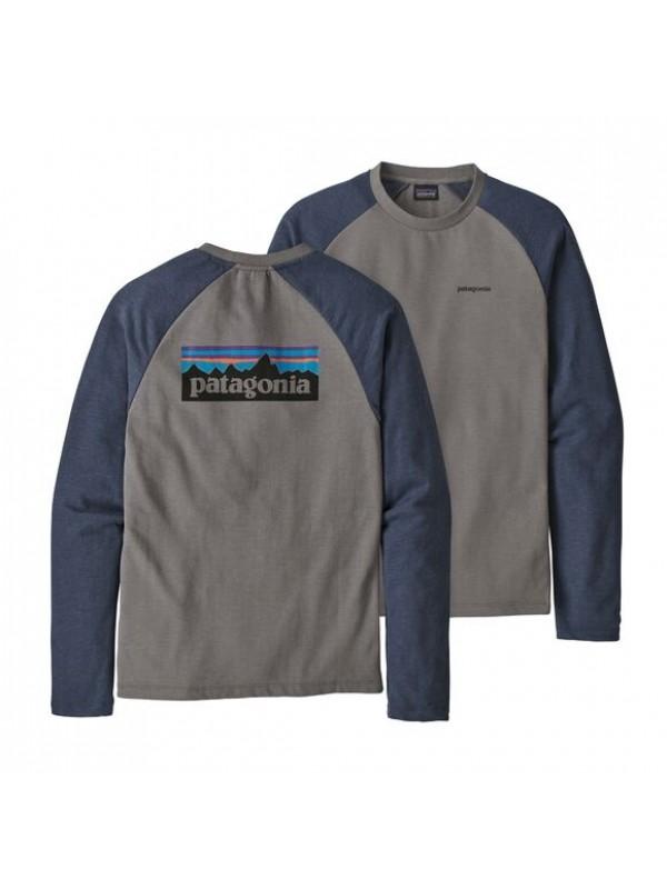 Patagonia P-6 Logo Lightweight Crew Sweatshirt : Feather Grey w/Dolomite Blue