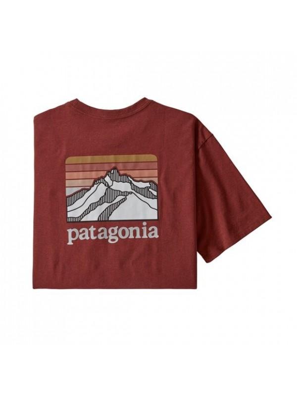 Patagonia Men's Line Logo Ridge Pocket Responsibili-Tee : Barn Red