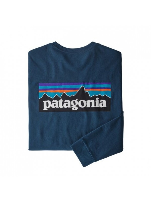 Patagonia Men's Long-Sleeved P-6 Logo Responsibili-Tee : Crater Blue
