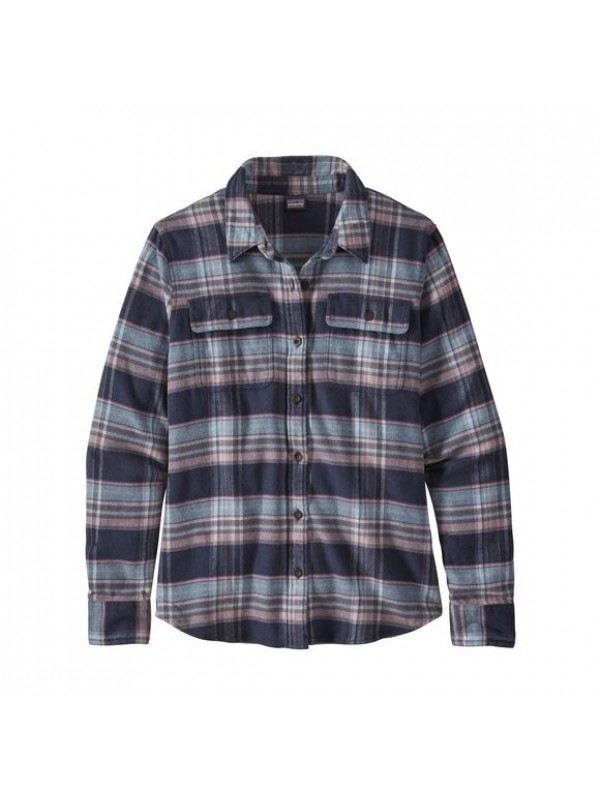 Patagonia Women's Fjord Flannel Shirt : Cabin Time: Smolder Blue