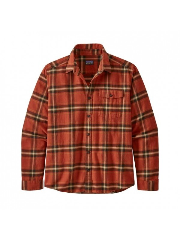 Patagonia Mens  L/W Fjord Flannel Shirt : Lawrence: Hot Ember