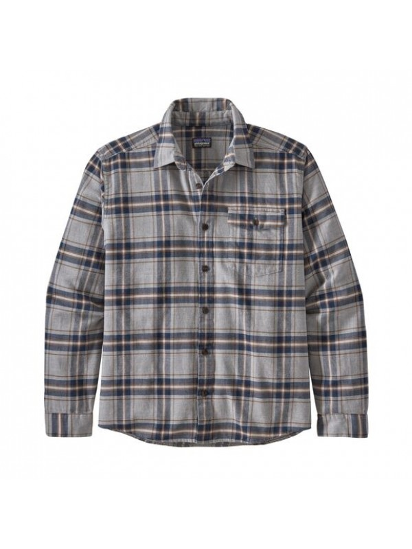 Patagonia Mens  L/W Fjord Flannel Shirt : Lawrence: Salt Grey