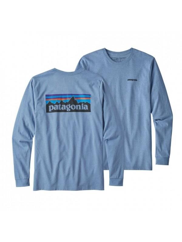 Patagonia Mens Long-Sleeved P-6 Logo Responsibili-Tee : Wilder Blue