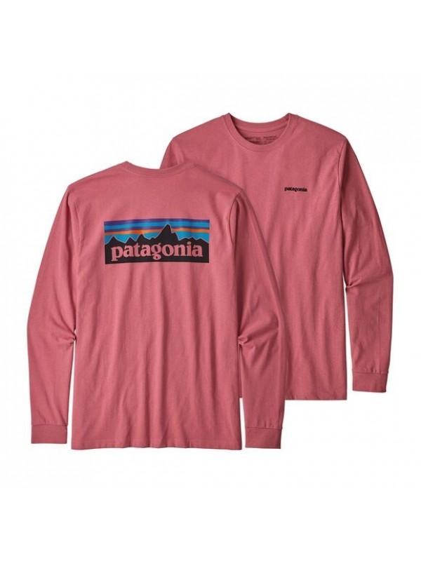 Patagonia Mens Long-Sleeved P-6 Logo Responsibili-Tee : Sticker Pink