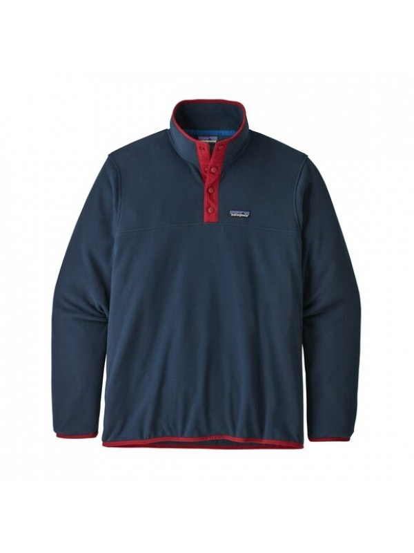 Patagonia Men's Micro D™ Snap-T® Fleece Pullover : New Navy w Classic Red