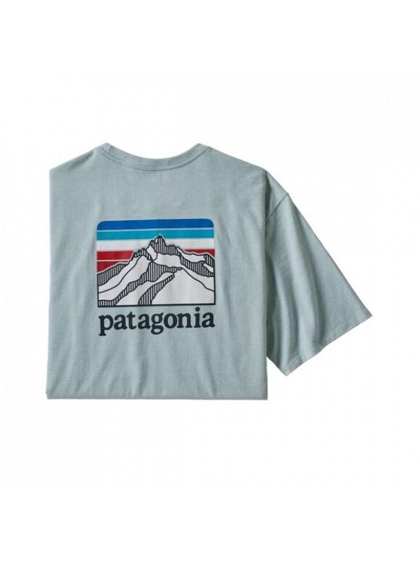 Patagonia Men's Line Logo Ridge Pocket Responsibili-Tee : Big Sky Blue