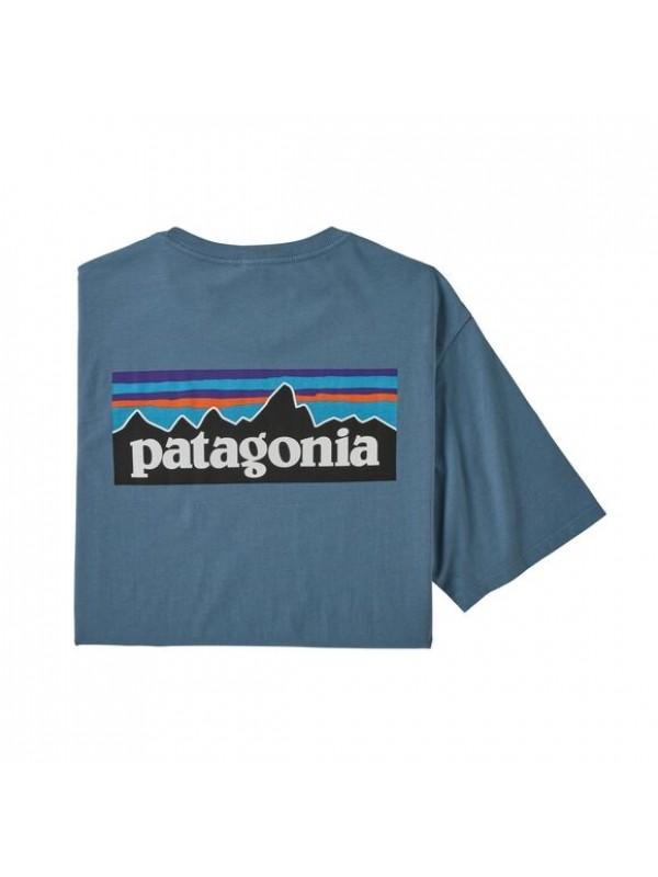 Patagonia Men's P-6 Logo Organic Cotton T-Shirt : Pigeon Blue