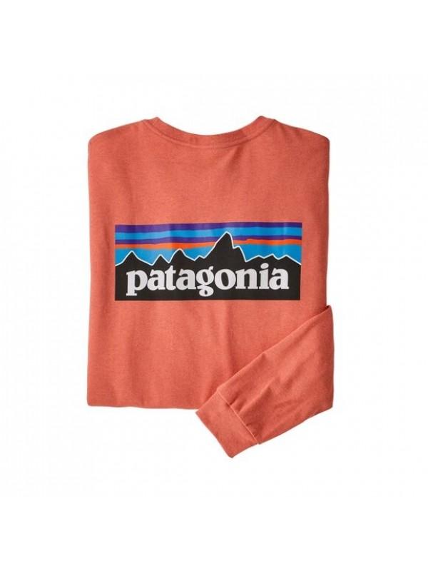 Patagonia Men's Long-Sleeved P-6 Logo Responsibili-Tee : Coho Coral
