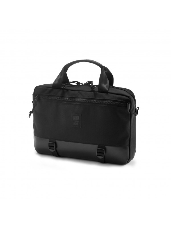 Topo Designs Commuter Briefcase 15L : Ballistic Black / Black Leather