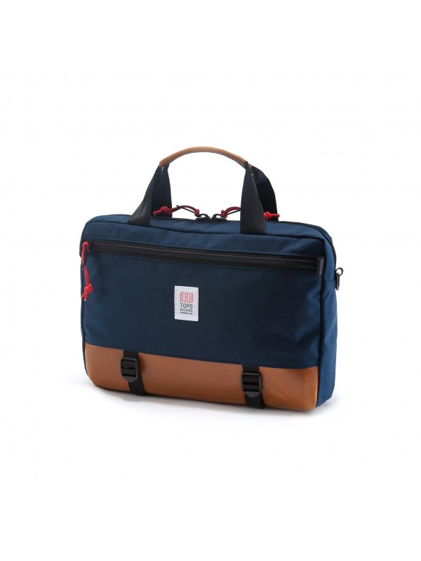 Topo Designs Commuter Briefcase 15L : Navy / Brown Leather