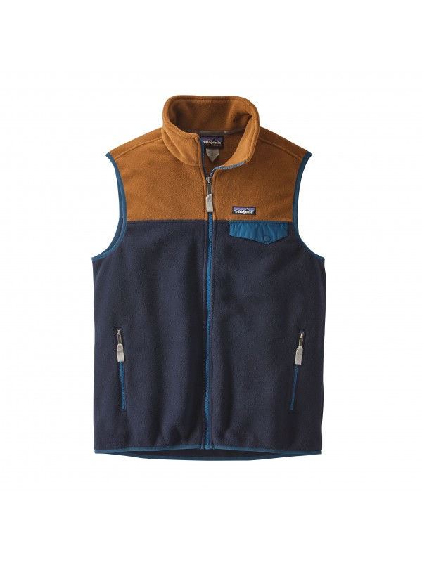 Patagonia Mens Navy Blue w Bear Brown Lightweight Synchilla Snap-T Vest