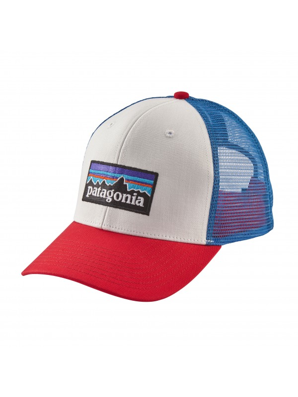 Patagonia P6 Trucker Hat-White w/Fire/Andes Blue (WFAB)