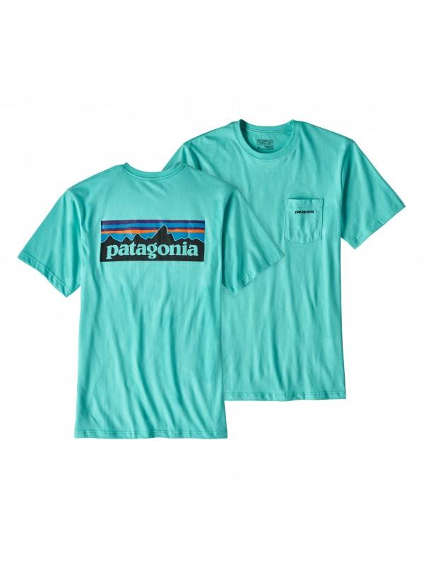 Patagonia Mens Strait Blue P-6 Logo Cotton Pocket T-Shirt